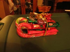 My mom's giant candy sleigh